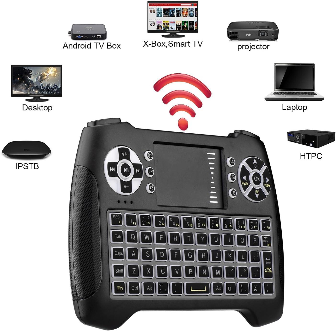 Miniteclado inalámbrico con panel táctil iluminado, con ratón, QWERTY de 2,4 GHz, control remoto, con USB, para Smart TV, HTPC, IPTV, Android TV Box, Xbox 360, PS3, PC y demás Englisch: Amazon.es: