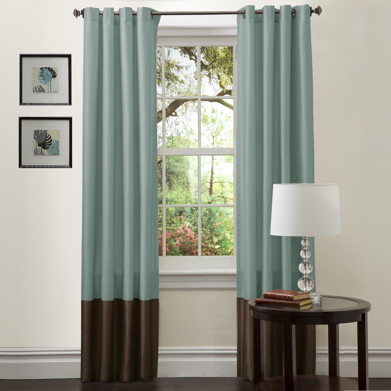Great Amazon.com: Lush Decor Prima Window Curtain Panel Pair, 84 Inch X 54 Inch  Blue/Chocolate, Set Of 2: Home U0026 Kitchen