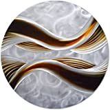 """Pure Art Caramel Desire Metal Wall Art, Round Metal Wall Decor in Abstract Waves Design, 3D Wall Art for Modern and Contemporary Decor, One Panel Measures 32""""x 32"""""""