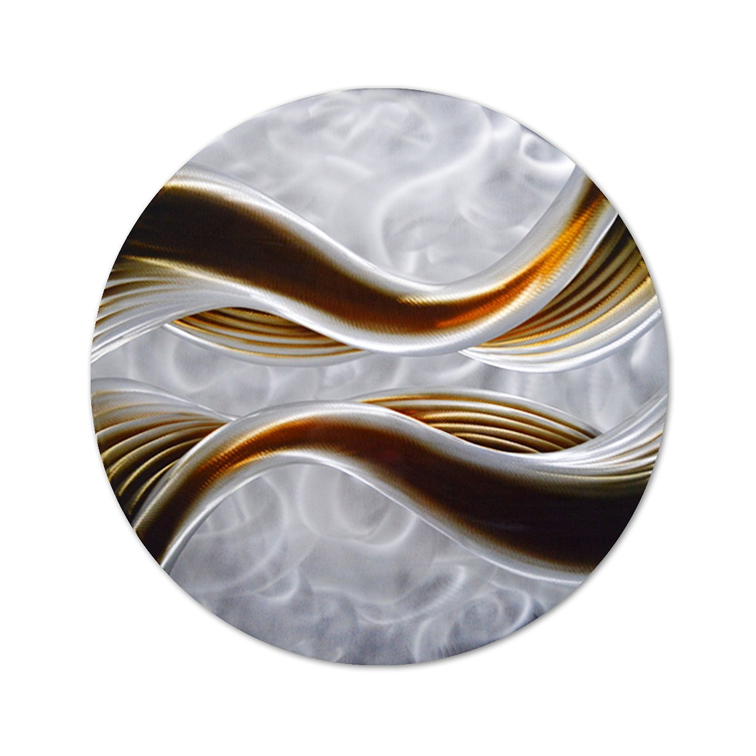 "Pure Art Caramel Desire Metal Wall Art, Round Metal Wall Decor in Abstract Waves Design, 3D Wall Art for Modern and Contemporary Decor, One Panel Measures 32""x 32"""