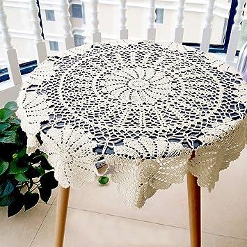 ... mano Crochet redonda mantel funda para mesa Hollow fuera Encaje Pastoral Estilo Europeo Flor bonita decoración de servilleta toalla de gamuza, algodón, ...