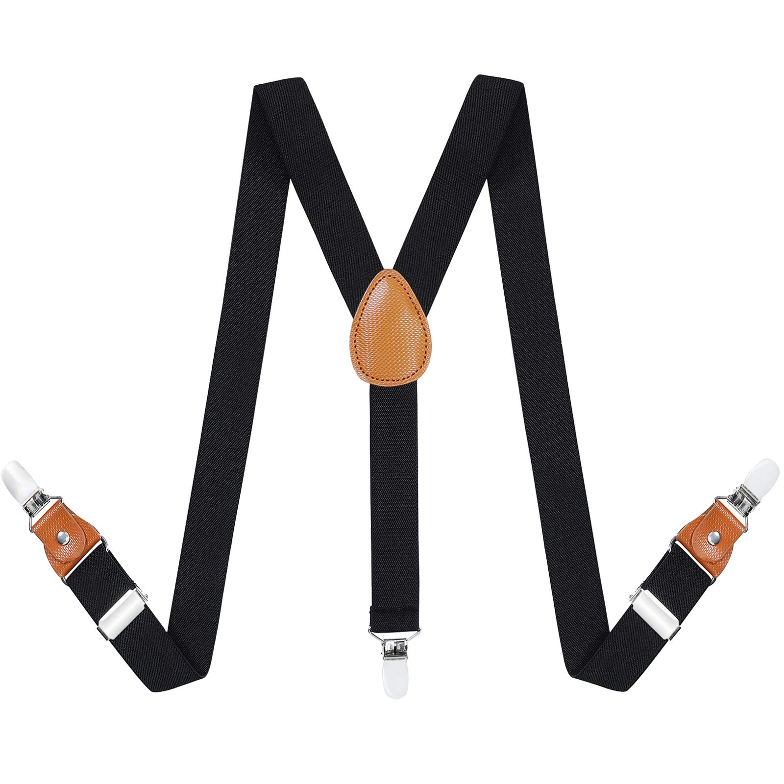 Toddlers Kids Boys Mens Suspenders - Y Back Adjustable Strong Clips Synthetic Leather Suspenders (27.6-29.5 Inch (3 Years - 8 Years), Black)