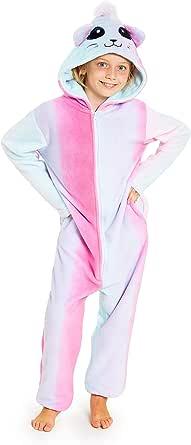 CityComfort Pijama Niña Entero De Una Pieza, Disfraz Niña de Gato, Pijamas Enteros de Animales con Capucha, Regalos para Niñas y Adolescentes 5-14 ...