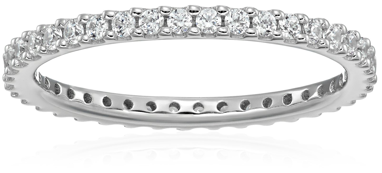 Platinum-Plated Sterling Silver Swarovski Zirconia Clear Round Cut Eternity Band Ring, Size 7