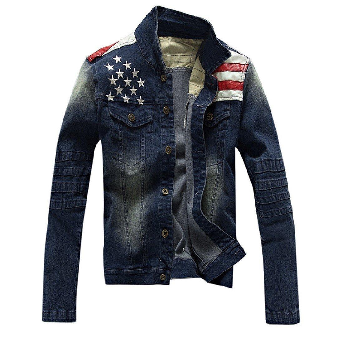 AngelSpace Men's Skinny Denim Punk Rock Coats Dark Blue XL