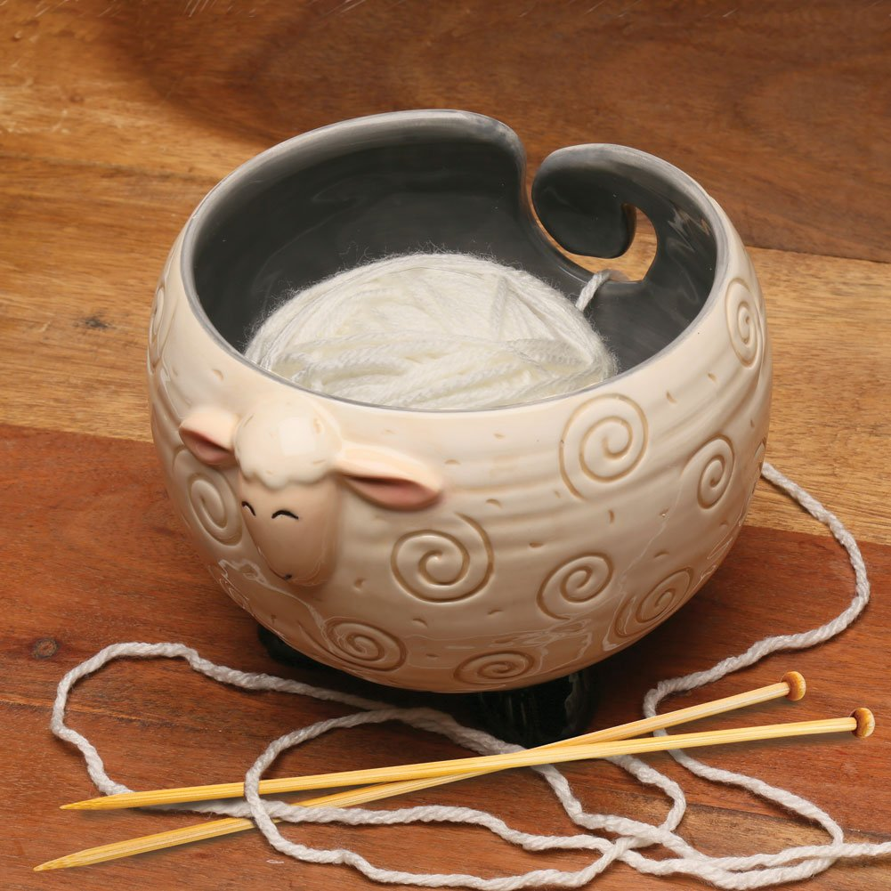 WHAT ON EARTH Sheep Shaped Yarn Knitting Bowl