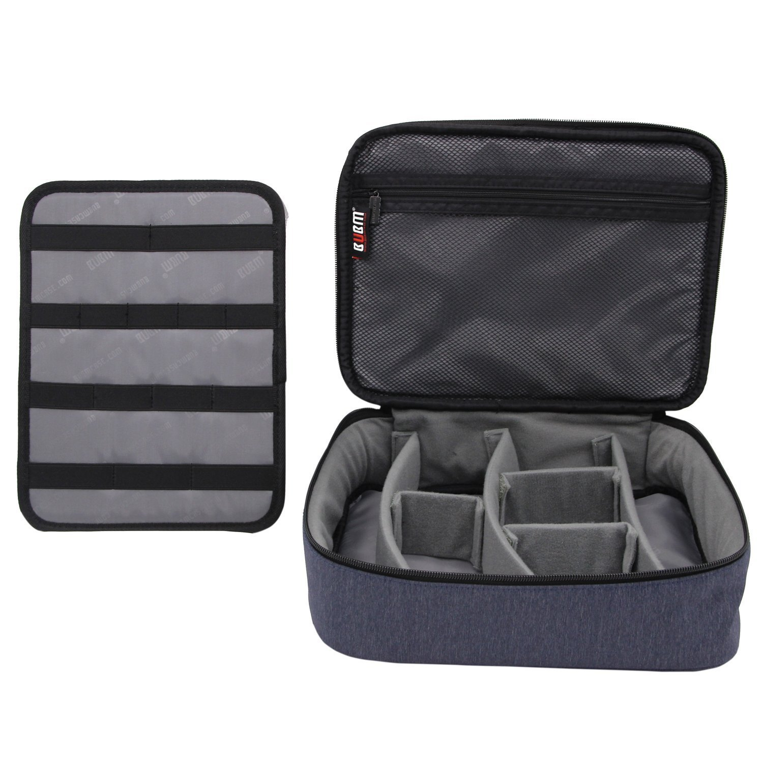BUBM Large Electronic Accessories Carrying Organizer with Cable Tie-Dark Blue