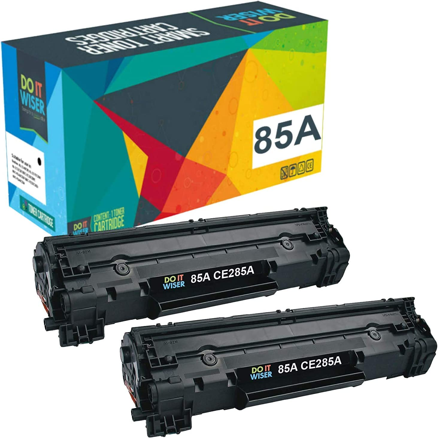 Do it Wiser Compatible Toner Cartridges Replacement for HP 85A CE285A, Compatible with HP Laserjet Pro P1102W P1109W M1212NF M1217NFW Printer, 2 Black