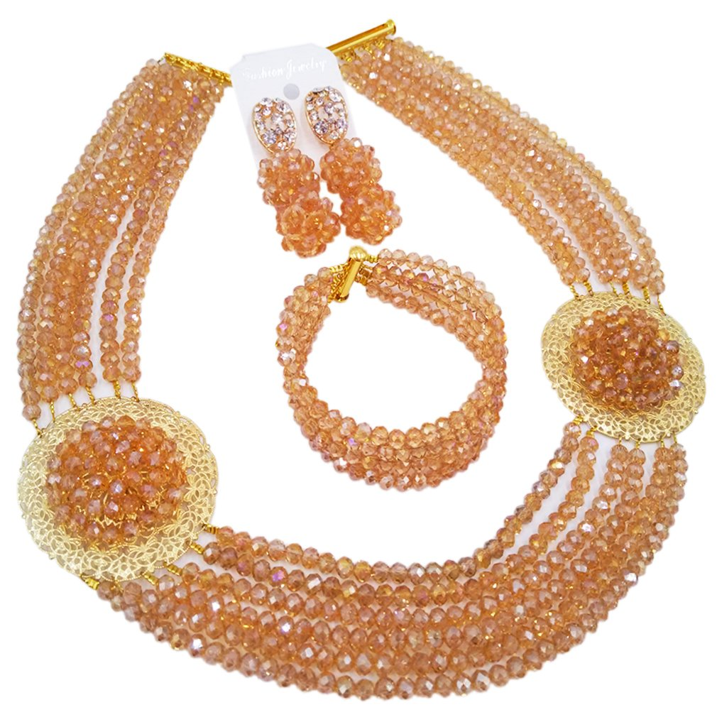 aczuv African Jewelry Sets for Women Nigerian Beads Jewelry Set Bridal and Earrings (Champagne Gold AB)