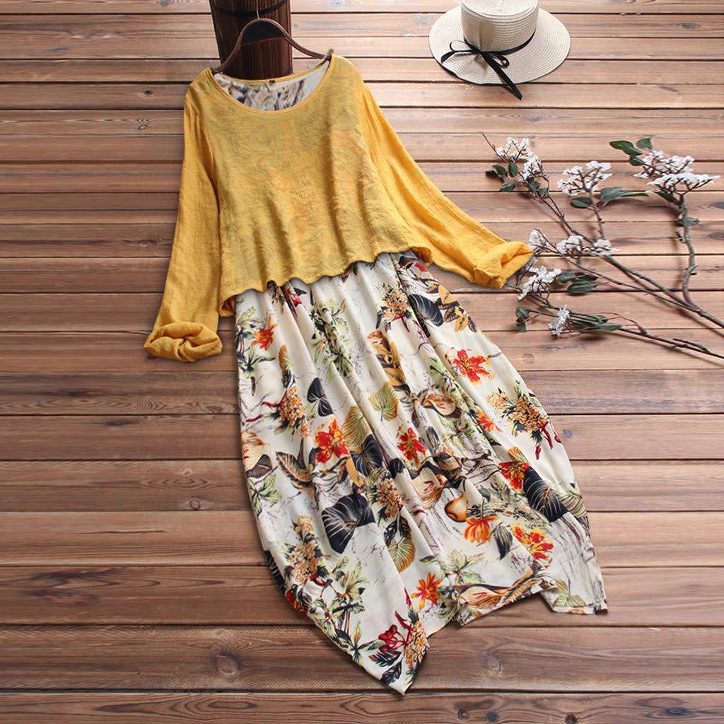 KPILP Womens Autumn Casual Loose Long Sleeve Sundress O-Neck A-line Beach Summer Swing Tank Tunic Dress Vintage Floral Printed Long Maxi Cotton Linen Dresses Plus Size S-5XL