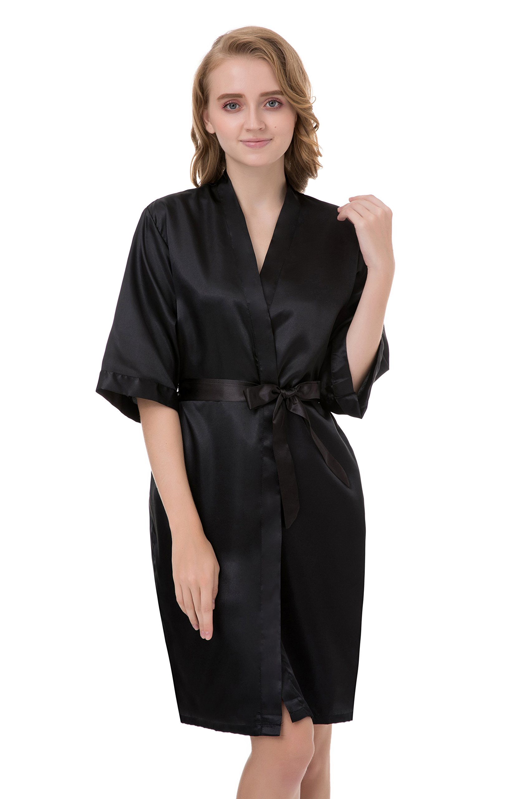 gusuqing Women s Pure Color Short Kimono Robe Sleeve Bridesmaid Robe Black  37 XL dea5657c6