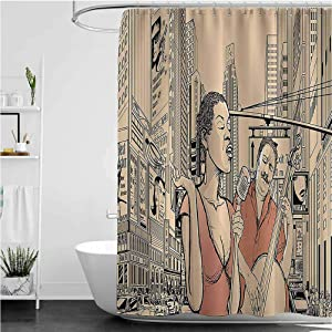 """Jazz Music Bathroom Shower Curtains, an Jazz Singer with Double-Bass Player in a Street of New York Urban Lifestyle Cloth Fabric Bath Curtain, 72"""" x 78"""""""