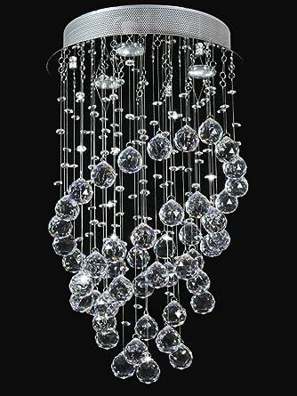 Cristal Lustre Plafonnier Contemporain Transparent Geniune
