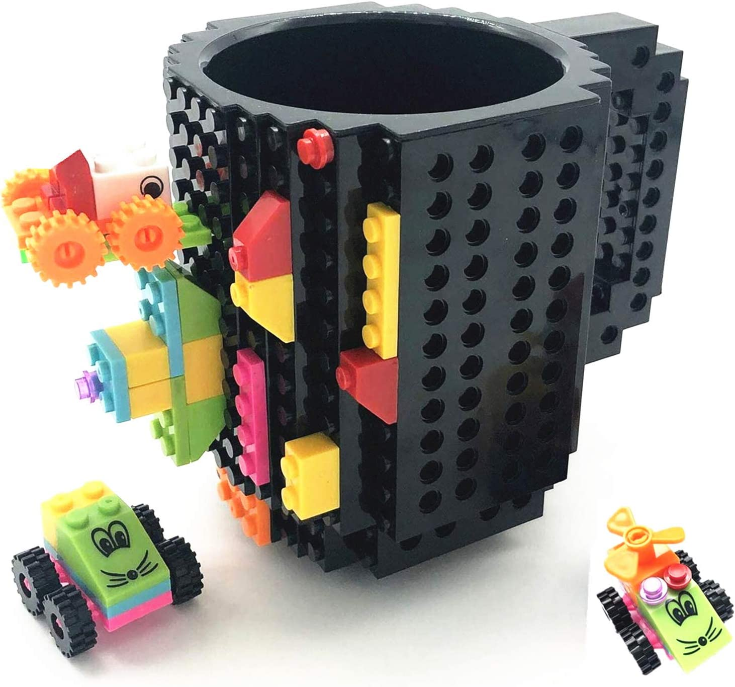 HUISHENG Build-on Brick Mug,Tazas Desayuno,Regalos para Hombre Mujer Papá Él Amigos Niños Adulto, Originales Regalo Ideal para Navidad Pascua Dia del Padre Cumpleaños,Compatible con Lego
