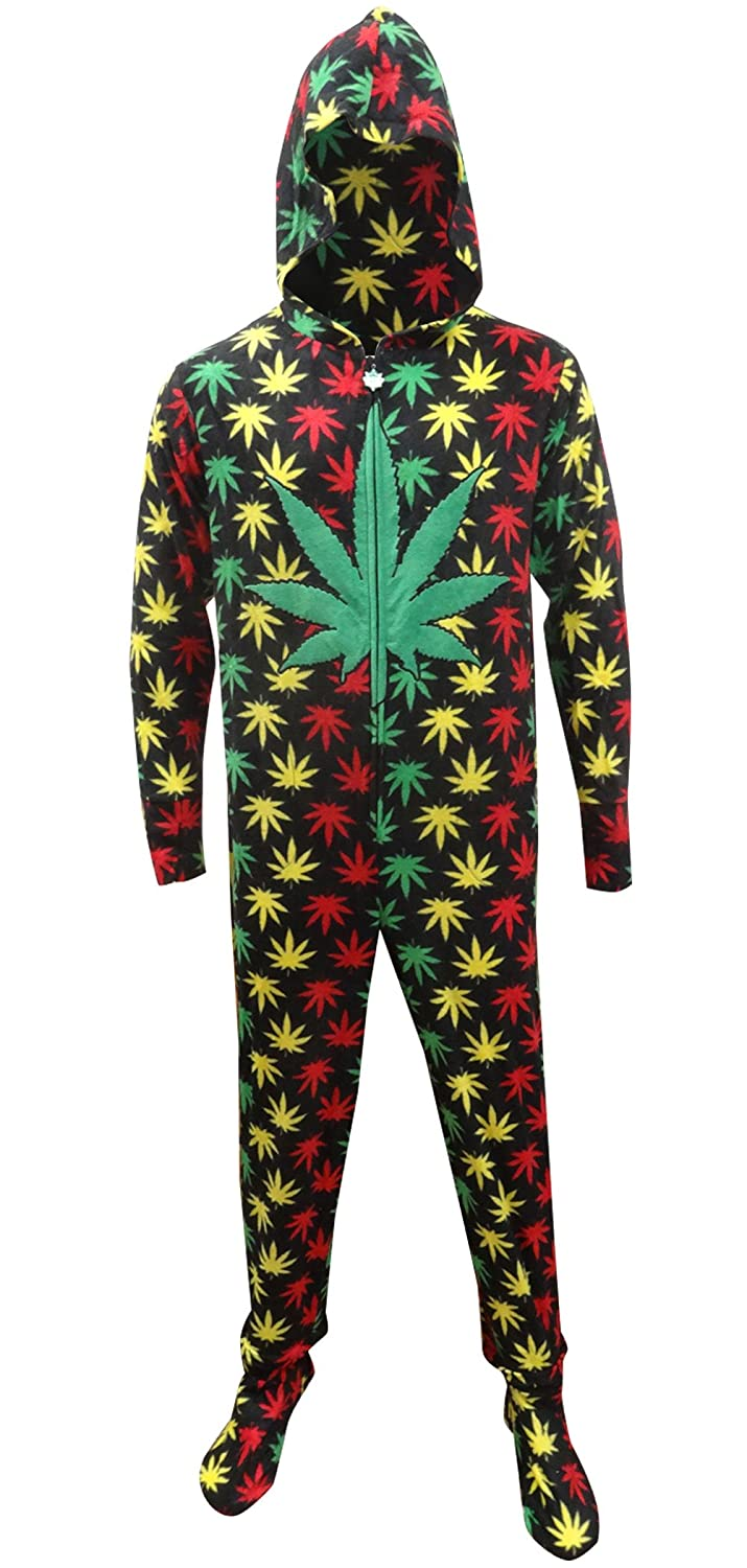 Rasta Themed Ganja Leaf Cozy Footie Onesie Pajamas with Hood for men at Amazon Mens Clothing store: