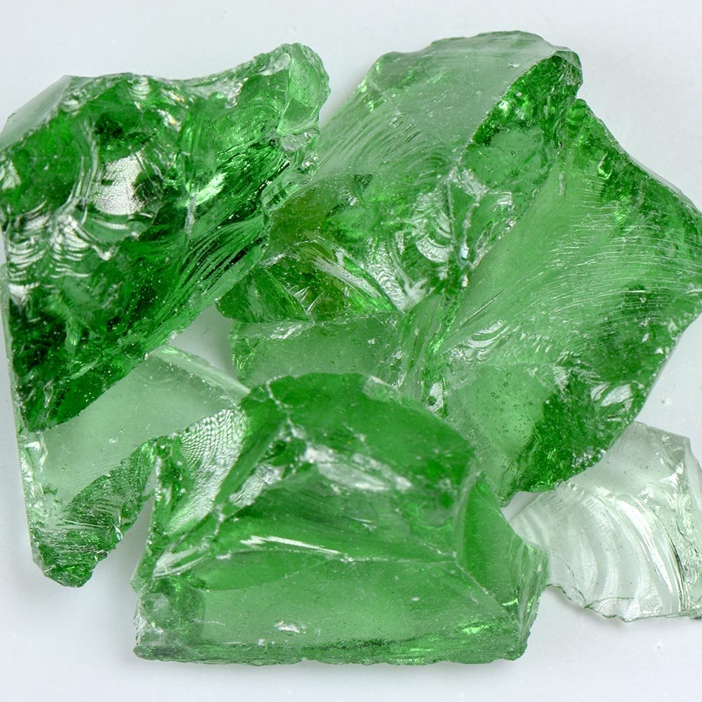 My Fireplace Glass - 5 Pound Fire Glass with Fire Pit Glass - Medium, 1/4 - 1/2 Inch, Crystal Green
