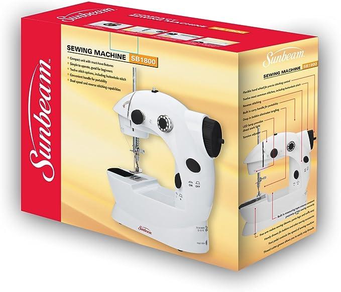 Sunbeam Mini portátil máquina de coser pedal adaptador de CA y más de 75 piezas Kit de costura incluido, gota en bobina para fácil de instalar, doble rosca y velocidad, Pre rosca