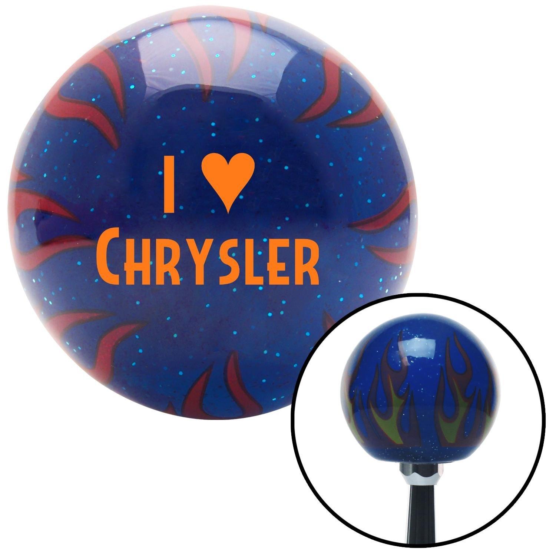 Orange I 3 Chrysler American Shifter 245543 Blue Flame Metal Flake Shift Knob with M16 x 1.5 Insert