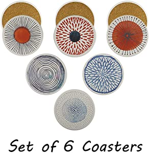 Set of 6 Acme Designs Drinks- Absorbing Round Cork Base Ceramic Stone Coasters,Tabletop Protection Mat, Suitable for All Kinds of Mug, Cups for Home, Kitchen