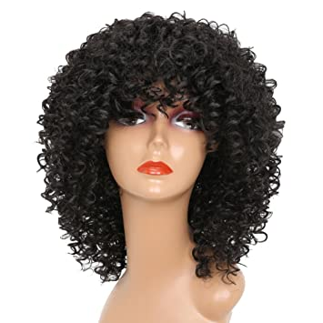 Amazon.com   MERISIHAIR Short Curly Wigs for Black Women Synthetic Afro  Curly Hair for African American Women Black Natural Color Heat Resistant  Fiber with ... cc421bec6
