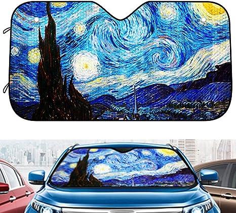 J.HAN Car Sun Shades Windschutzscheibe Sonnenschutz Aquarell Kiefern Windschutzscheibe Sonnenschutz Universal Fit Auto Sonnenschutz,Halten Sie Ihr Fahrzeug K/ühl,130X90 cm