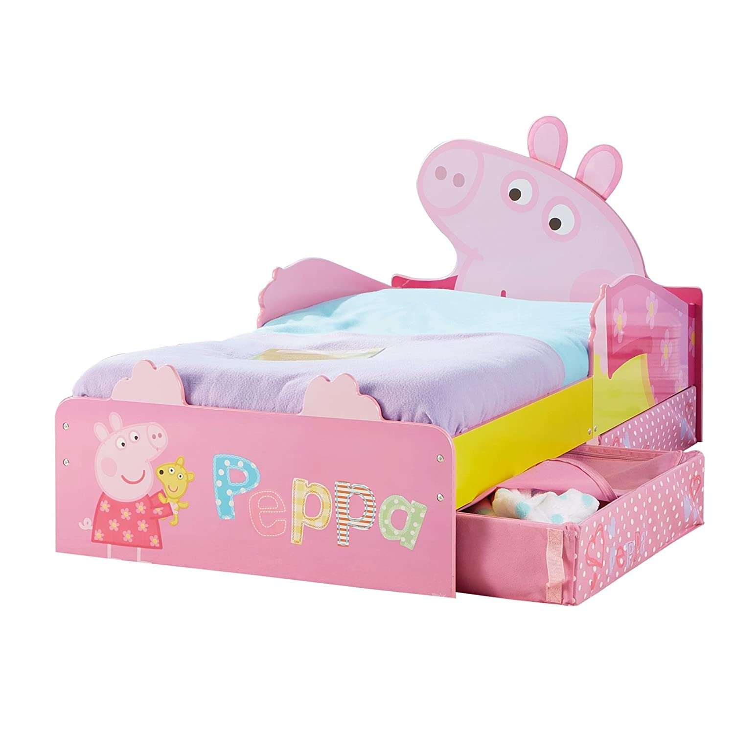 HelloHome Peppa Pig Toddler Bed with Underbed Storage, Wood, Multi, 142 x 77 x 63 cm Worlds Apart 509PEP