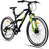 Hiland 24 26 Inch Mountain Bike with Suspension Fork/Disc Brake, 21 Speeds Shimano Drivetrain, Free Kickstand Included…