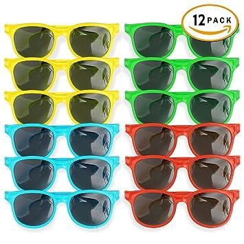 12 Pack Gafas de Sol de Plástico para Niños - 4 Colores ...