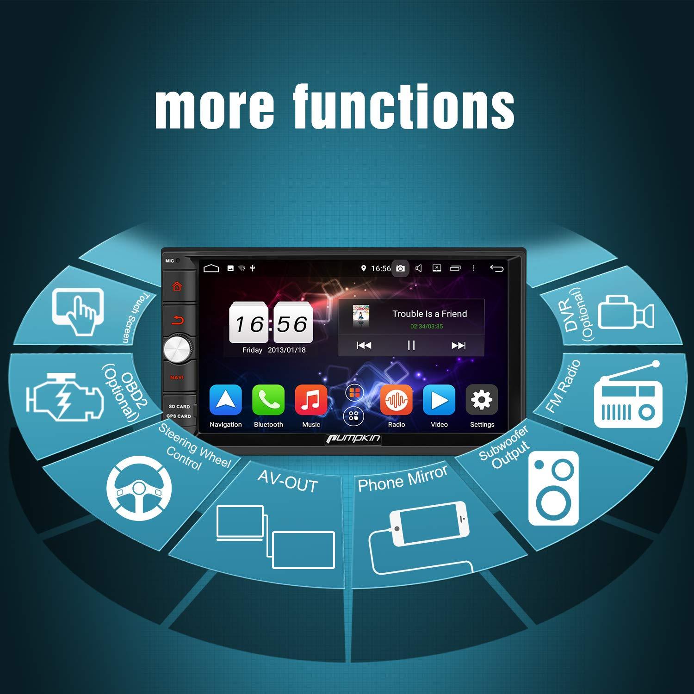 Bluetooth Bluetooth Pumpkin 1 Din Autoradio Android 8.1 Radio con Patanlla T/áctil soporta GPS 4K V/ídeo WiFi Mandos de Volante USB SD AV-OUT Mirror-link