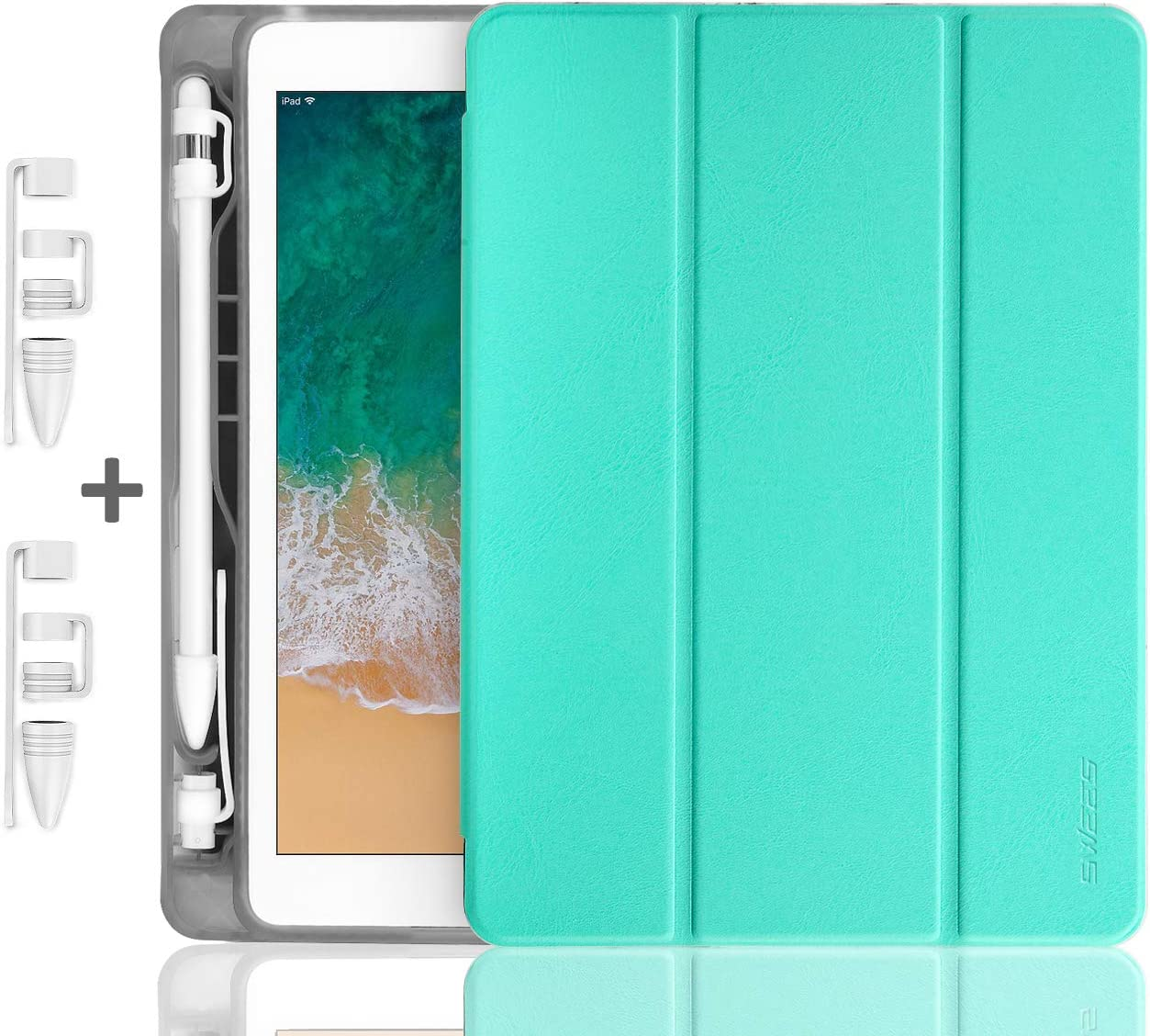 SWEES Compatible with iPad 9.7 2018/2017 Case with Pencil Holder, Shockproof Leather Smart Cover Auto Sleep/Wake with Pencil Cap Holder Compatible with iPad 9.7 inch 6th/5th Generation, Mint Green