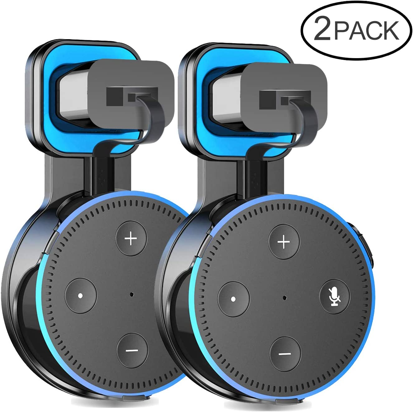 2 X Outlet Wall Mount Holder Stand Hanger for Dot 2rd Generation,A Space-Saving Solution with Cord for Your Smart Home Speakers, Without Messy Wires,Place on Kitchen, Bedroom & Bathroom(Black)