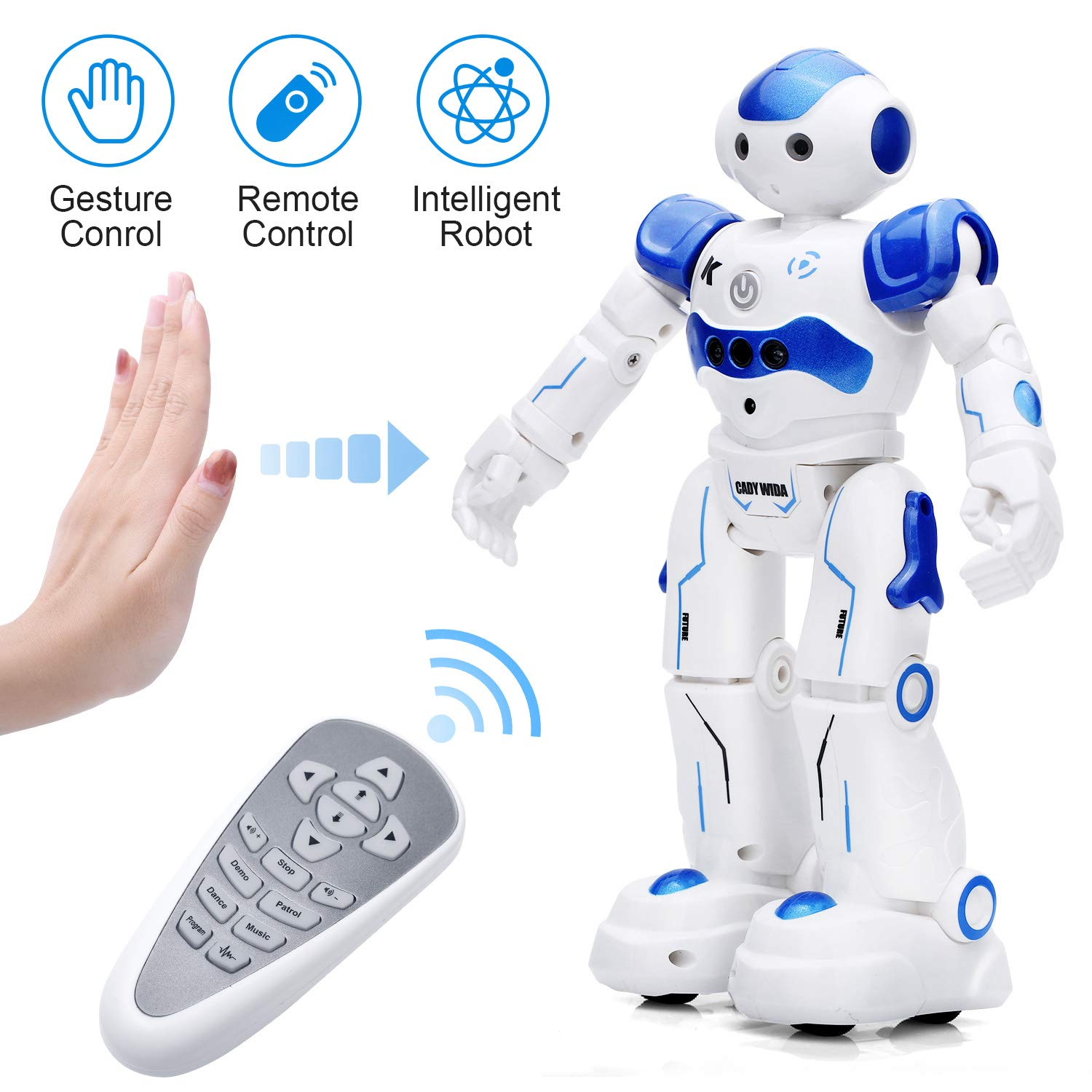 KINGSDRAGON Robot Toys RC Robot for Kids Rechargeable Intelligent Programmable Robot with Infrared Controller,Remote Control Robots Gesture Sensing Robot,Interactive Walking Singing Dancing by KINGSDRAGON (Image #1)
