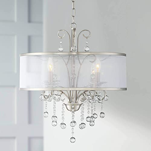 Perry Bright Nickel Pendant Chandelier 22″ Wide Modern Clear Crystal Sheer Shade 4-Light Fixture