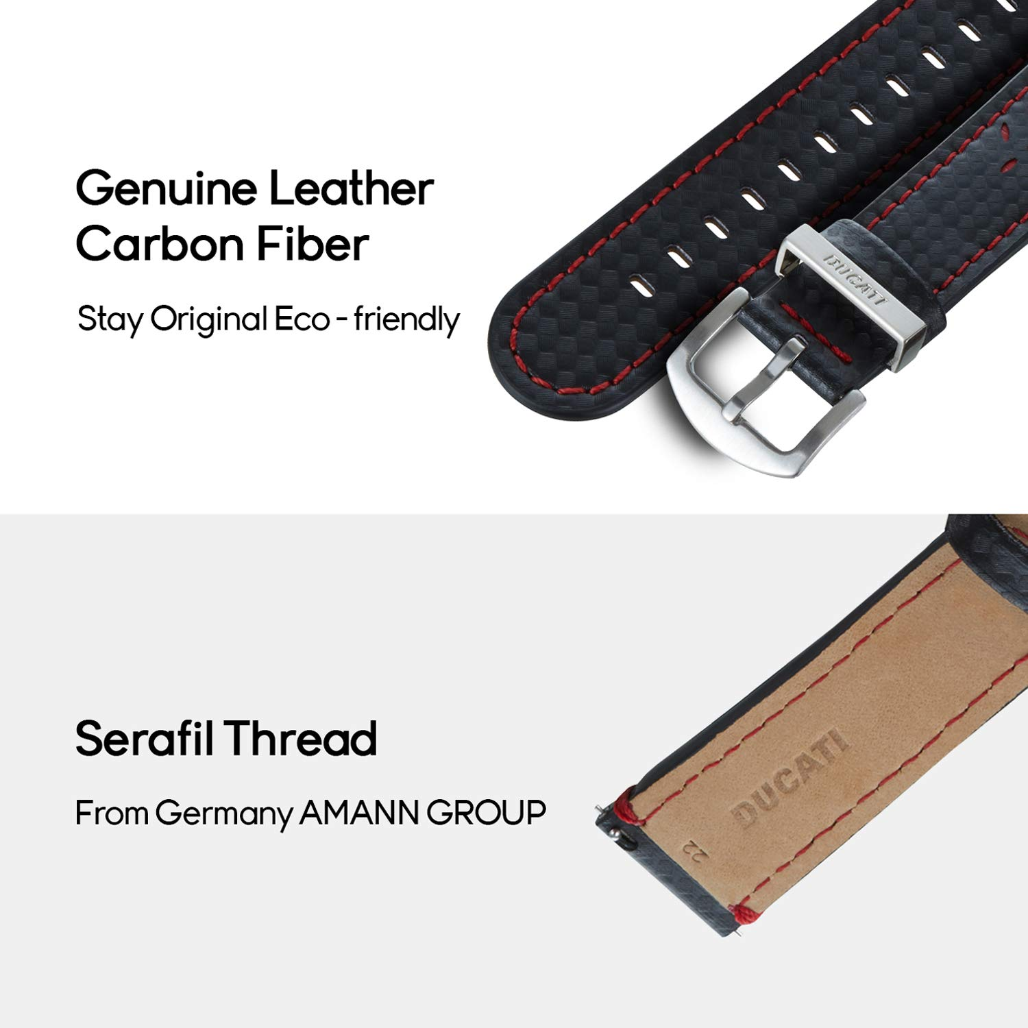 Mr. Time Smart Watch Band for Apple Watch 44mm 42mm, [Ducati Special Edition] Genuine Leather Sport Strap Replacement Bands Compatible for Apple Watch Series 4, 3, 2, 1 - Black by MR. TIME (Image #2)
