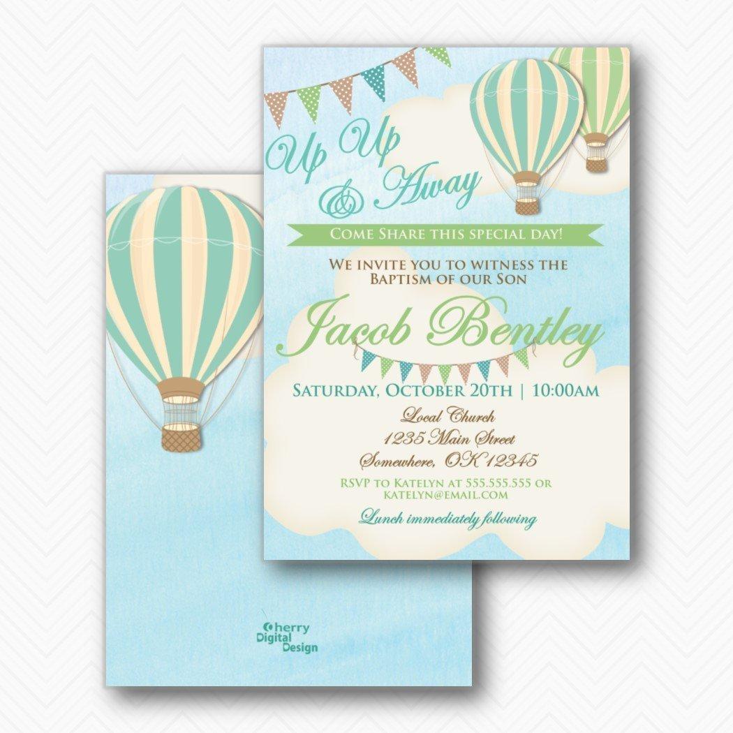 Amazon.com: Boy Hot Air Balloon Baptism Invitations | Envelopes ...