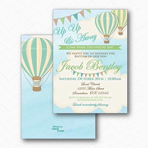 28eaf8dee Amazon.com: Boy Hot Air Balloon Baptism Invitations | Envelopes ...