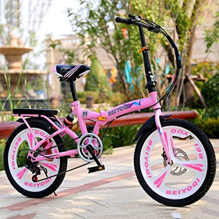 Paseo Bicicleta Plegable Ultra Ligero Portátil Plegable Bicicletas 20 Pulgadas De Absorción De Choque Shift Estudiante Coche Adulto Pequeña Bicicleta (Color : Pink, Size : 20inches): Amazon.es: Hogar