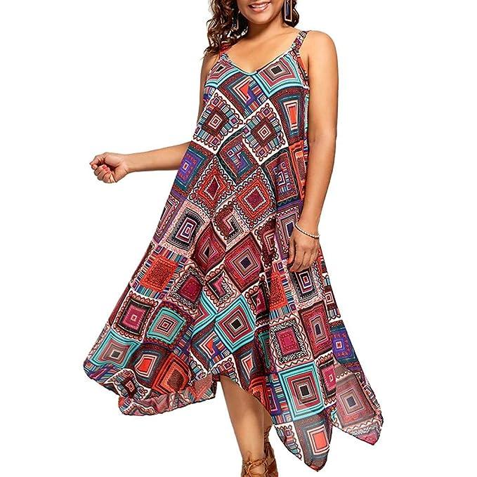 Leo565Tom de Gran tamaño asimétrico de Las Mujeres Vestido de Gasa Boho Vestido de Estampado Floral
