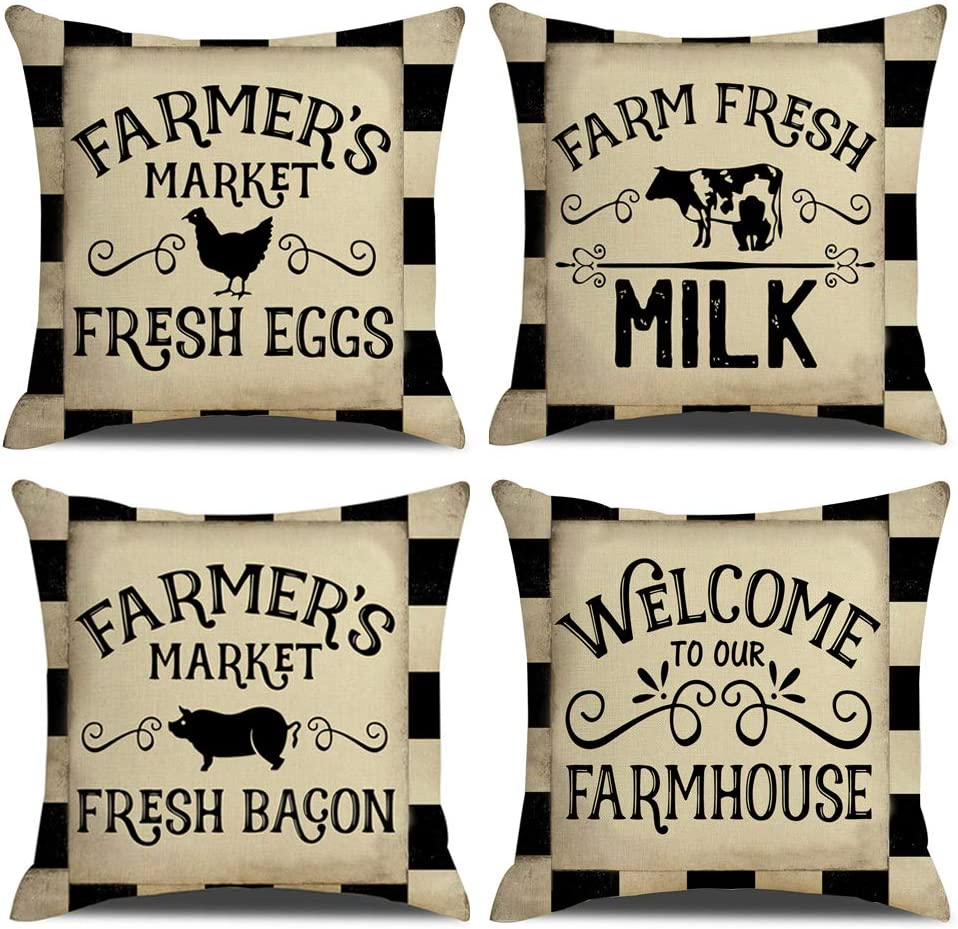 "KACOPOL Black Buffalo Check Plaid Pillow Covers Farmer's Market Fresh Eggs Milk Bacon Locally Grown Farmhouse Decorative Cotton Linen Throw Pillow Case Cushion Cover 18"" x 18"" Set of 4"