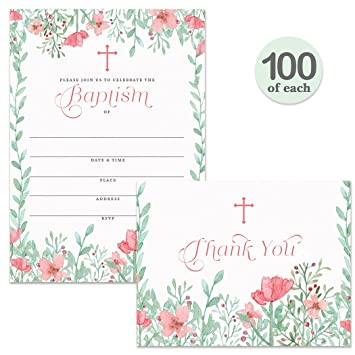 Amazon Com Baptism Invitations 100 Matching Thank You Notes