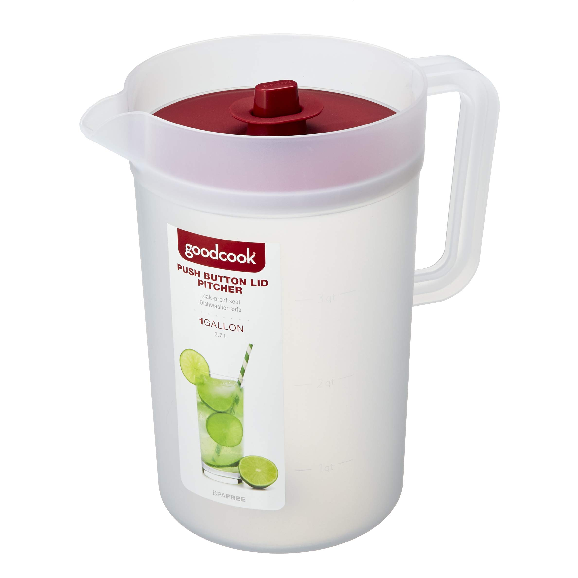 GoodCook 1 Gallon Plastic Pitcher with Vacuum Suction Seal Lid, juice, water, mixed drinks, Clear and Red by Good Cook