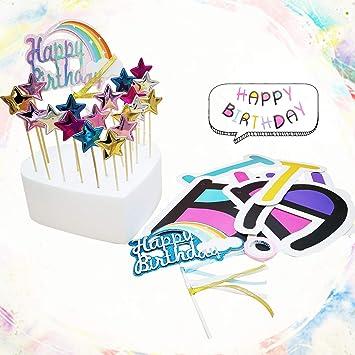 Banner de Feliz Cumpleaños, Topper de Pastel de Arco Iris, Y ...