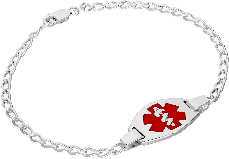 Sterling Silver Rope Medical ID Bracelet 7
