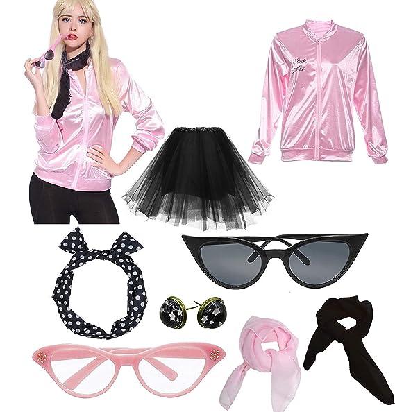 Dorigan Women 50\u0027S Halloween Costume Party Pink Jacket with Tutu Skirt
