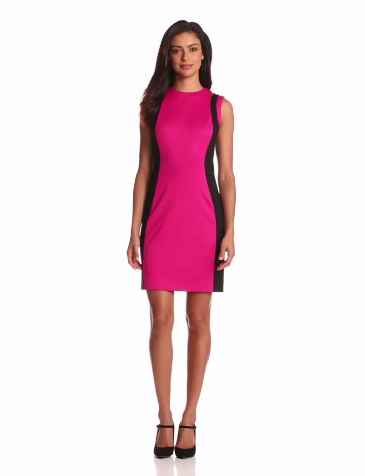 Cynthia Steffe Womens Charlotte Colorblock Dress, Exotic Rose/Rich Black, 0