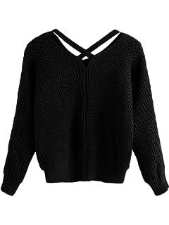 DIDK Damen Strick Pullover Spitzen Pullover Casual Hoodies