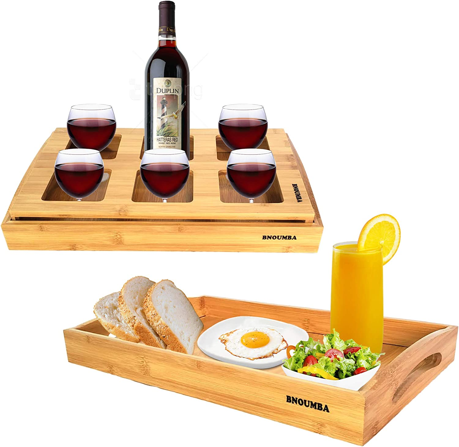 BNOUMBA Wood Serving Tray with Handles and Holder for 6 Glasses. 2 in 1 Set of Bamboo Tray for Foods and Drinks. Serving Eating, Dinner, Breakfast on Bed, Tea coffee, Wine, Whiskey