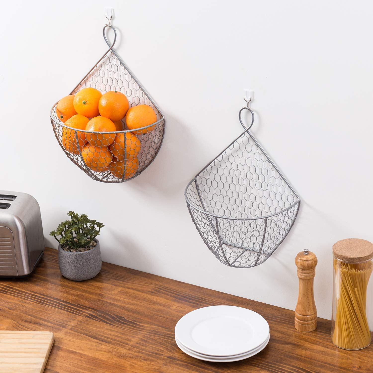 MyGift Silver Metal Chicken Wire Wall Mounted Hanging Produce Baskets Set of 2