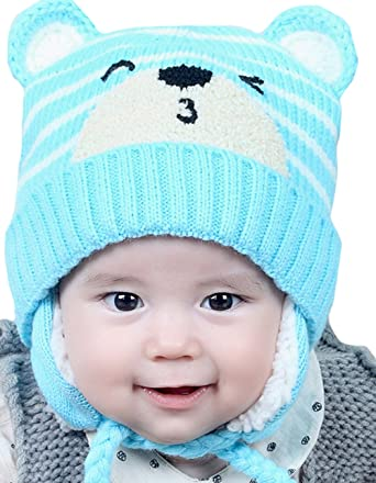 b0519d7a54c Amazon.com  ZEHAT Cartoon Cat Striped Handmade Knitted Wool Beanie Hat Baby  Girls Boys Crochet Caps Winter Warm Headwrap accessories  Clothing