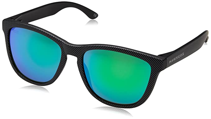 Hawkers Carbon Black Emerald One Kids, Occhiali da Sole Unisex, Nero (Negro/Verde), 65